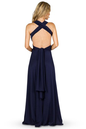 A-Line Haltered Ruched Sleeveless Maxi Chiffon Convertible Bridesmaid Dress