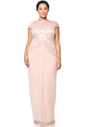 Sheath Appliqued Cap Sleeve Jewel Neck Tulle Evening Dress