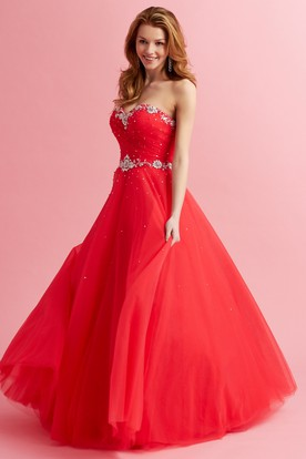A-Line Sweetheart Sleeveless Tulle Dress With Criss Cross And Beading