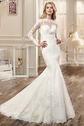 Long-Sleeve Mermaid Wedding Dress With Keyhole Back And Appliques
