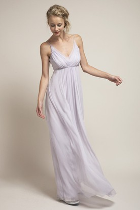 Sleeveless Bowed Spaghetti Chiffon Bridesmaid Dress With Low-V Back