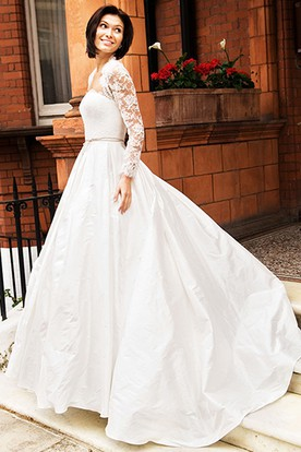 A-Line Long-Sleeve Strapless Taffeta Wedding Dress With Lace And Illusion