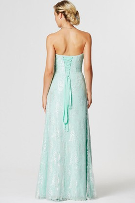 Side-Draped Sleeveless Sweetheart Lace Bridesmaid Dress With Corset Back