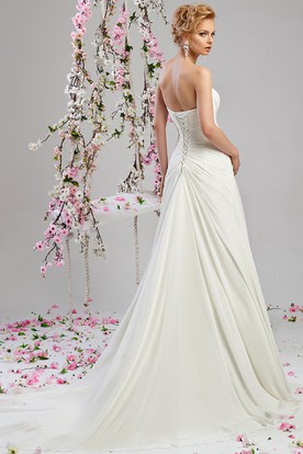 A-Line Sweetheart Chiffon Wedding Dress With Criss Cross And Lace Up
