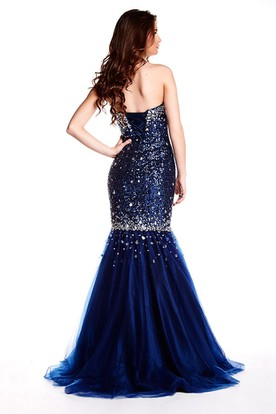 Mermaid Crystal Sleeveless Floor-Length Sweetheart Sequins&Tulle Prom Dress With Lace-Up Back And Sweep Train