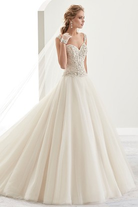 Sweetheart Beaded A-Line Bridal Gown With Open Back And Brush Train