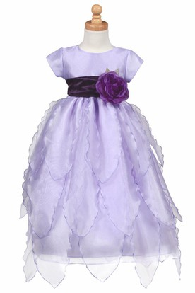 Cap-Sleeve Tiered Organza&Taffeta Flower Girl Dress