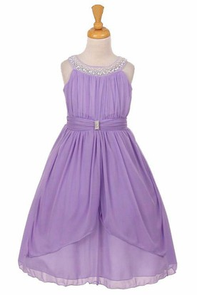 Peplum Tea-Length Tiered Pleated Chiffon&Tulle Flower Girl Dress With Ribbon