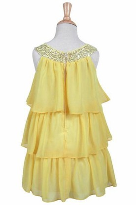 Embroideried Chiffon&Sequins Flower Girl Dress
