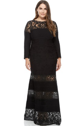 Bateau Neck Appliqued Long Sleeve Lace Evening Dress With Illusion Back