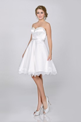 A Line Short Satin Sweetheart Wedding Dress With Lace Hemline