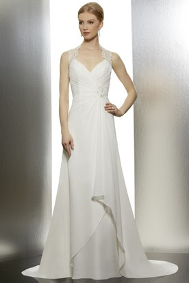 A-Line Sleeveless Lace Long Wedding Dress With Ruching And Draping