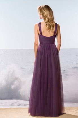 Sleeveless Tulle Gown With Pleats And Keyhole