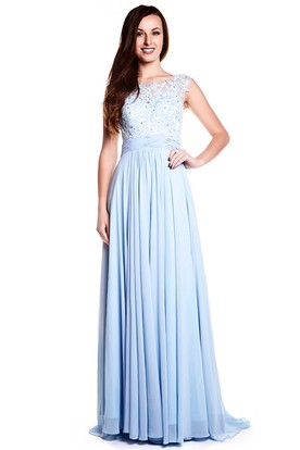 Cap Sleeve Bateau Neck Appliqued Chiffon Prom Dress With Illusion Back