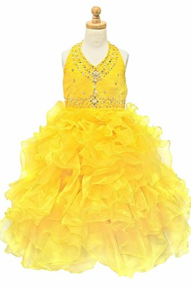 Tea-Length Ruffled Natural Beaded Tiered Sequins&Organza Flower Girl Dress With Ribbon