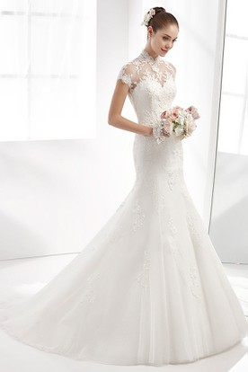 High-neck Mermaid Wedding Dress with T-shirt Sleeves and Illusive Design