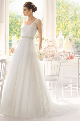A-Line Sleeveless Ruched Maxi Tulle Wedding Dress With Waist Jewellery