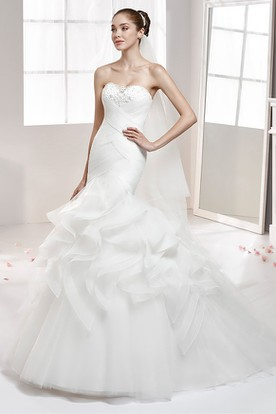 Strapless Ruffled Mermaid Wedding Gown with Beaded Bust and Crisscross Waist