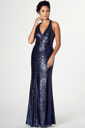 Sleeveless V-Neck Sequin Prom Dress With Straps