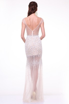 Sheath Long Bateau Cap-Sleeve Tulle Deep-V Back Dress With Crystal Detailing