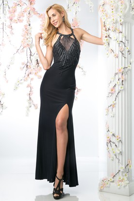 Sheath Ankle-Length Halter Sleeveless Jersey Straps Dress With Sequins