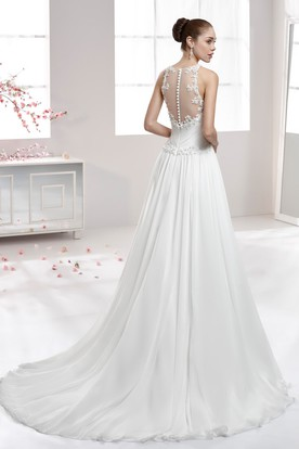 Jewel-Neck Draping Chiffon Wedding Dress With Illusive Neckline And Beaded Bodice