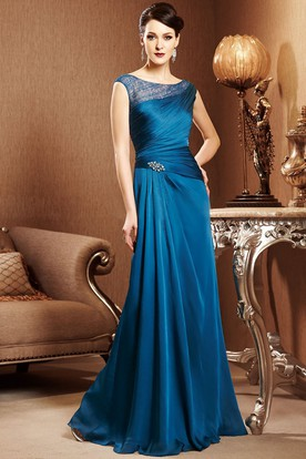 Cap-Sleeved Long Mother Of The Bride Dress With Crystals And Ruching