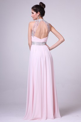 A-Line Jewel-Neck Sleeveless Chiffon Keyhole Dress With Beading And Ruching