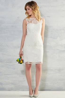 Short Scoop Lace Wedding Dress With V Back