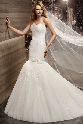 Strapless Sheath Mermaid Lace Gown with Flower Embellishment
