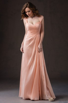 Cap-Sleeved Long Gown With Pleats And V-Back