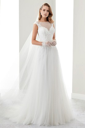 Cap Sleeve Illusion Draping Bridal Gown With Lace Bodice And Open Back