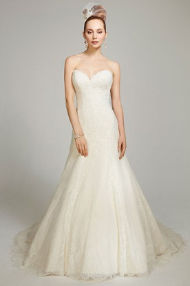 A-Line Sweetheart Lace Wedding Dress With Deep-V Back