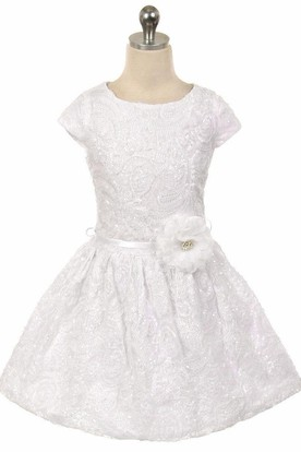 Tea-Length Pleated Tiered Tulle&Sequins Flower Girl Dress