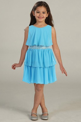 Knee-Length Chiffon&Sequins Flower Girl Dress