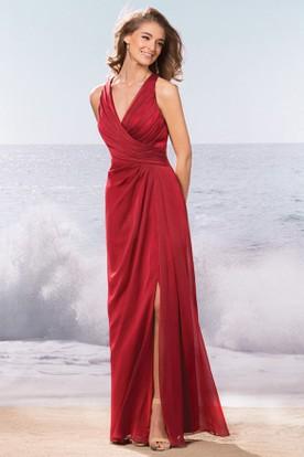 Sleeveless Long Bridesmaid Dress With Front Slit And Keyhole Back