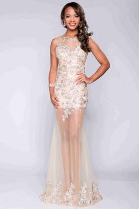Sequined Sheath Bateau Neck Prom Dress With See-Through Back And Skirt