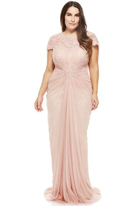 Floor-Length Scoop Neck Appliqued T-Shirt Sleeve Tulle Evening Dress