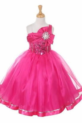 Broach Tea-Length Tiered Bowed Sequins&Organza Flower Girl Dress With Sash