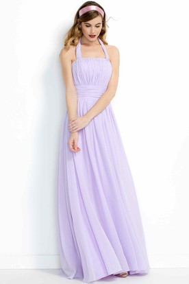 Sheath Halter Sleeveless Pleated Chiffon Bridesmaid Dress With Ruching
