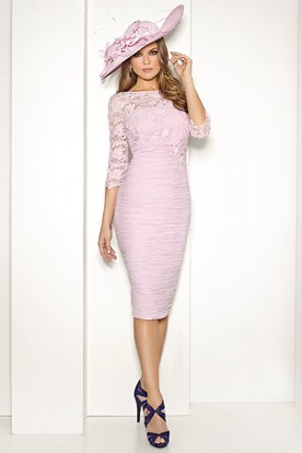 Pencil Knee-Length Appliqued Bateau Neck 3-4 Sleeve Chiffon Mother Of The Bride Dress