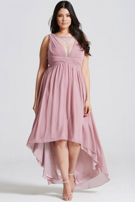 High-Low Sleeveless Bateau Neck Ruched Chiffon Bridesmaid Dress