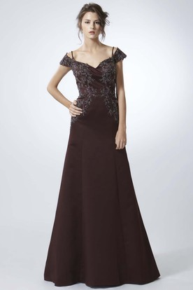 A-Line Appliqued Spaghetti Cap-Sleeve Floor-Length Chiffon Prom Dress With Low-V Back