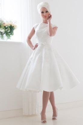 Tea-Length A-Line Appliqued Cap Sleeve High Neck Satin Wedding Dress