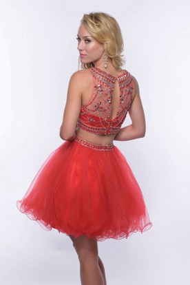 Two Piece Sleeveless Jewel Neck Tulle Short Homecoming Dress With Glimmering Bodice