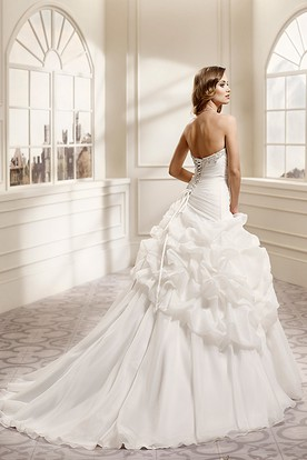 Ball Gown Sweetheart Long Organza Wedding Dress With Pick Up And Beading