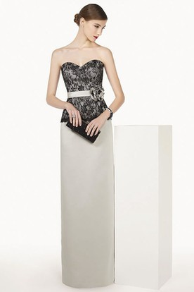 Lace Top Sheath Long Satin Prom Dress With Floral Sash And Removable Jacket