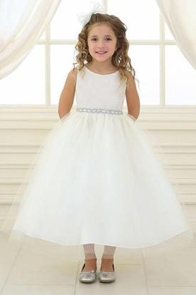 Beaded Tulle&Satin Flower Girl Dress
