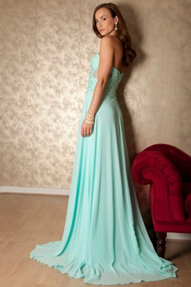 Maxi Sweetheart Appliqued Sleeveless Chiffon Prom Dress With Brush Train