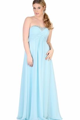 Empire Beaded Sleeveless Sweetheart Chiffon Bridesmaid Dress